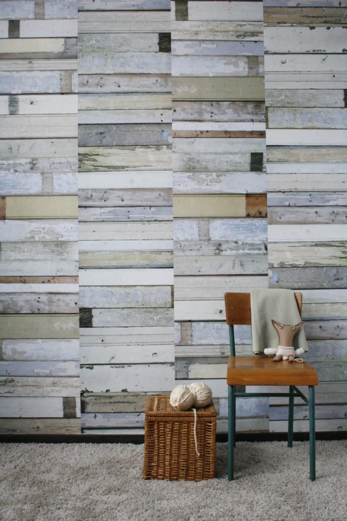 Scrapwood wallpaper white 02