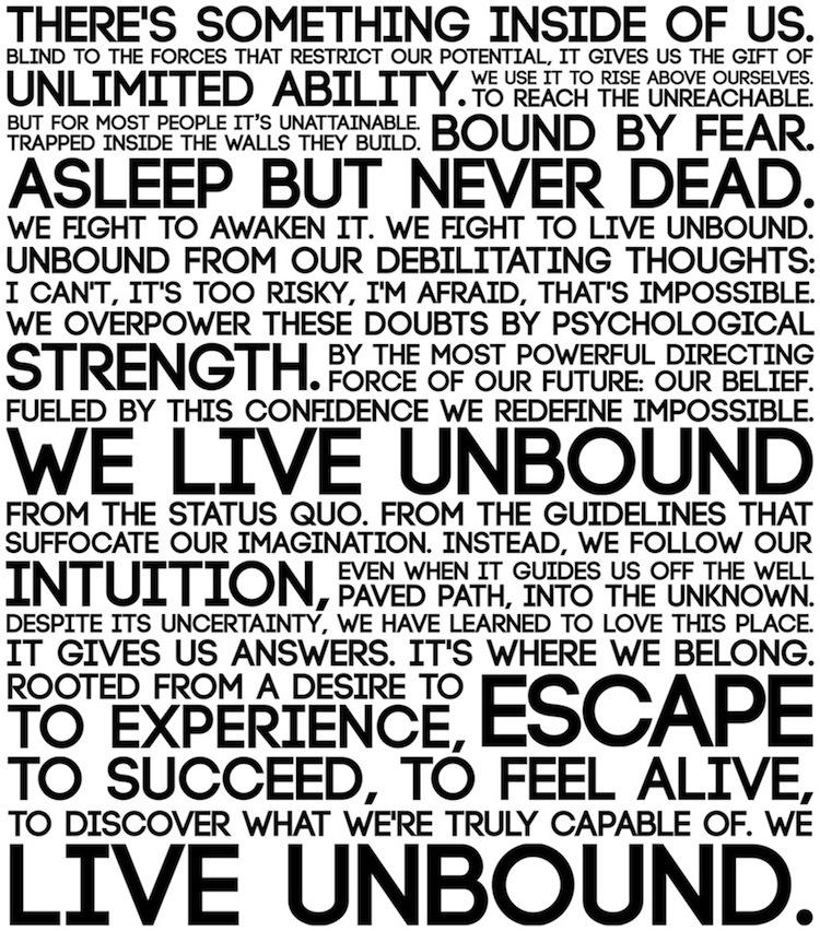 manifesto WE LIVE UNBOUND