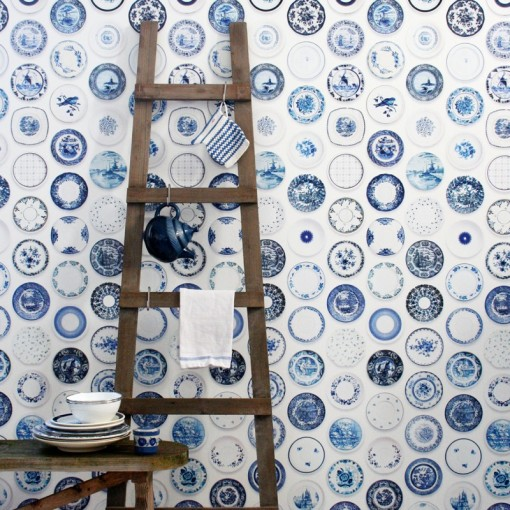 Papel de Pared Porcelana Azul