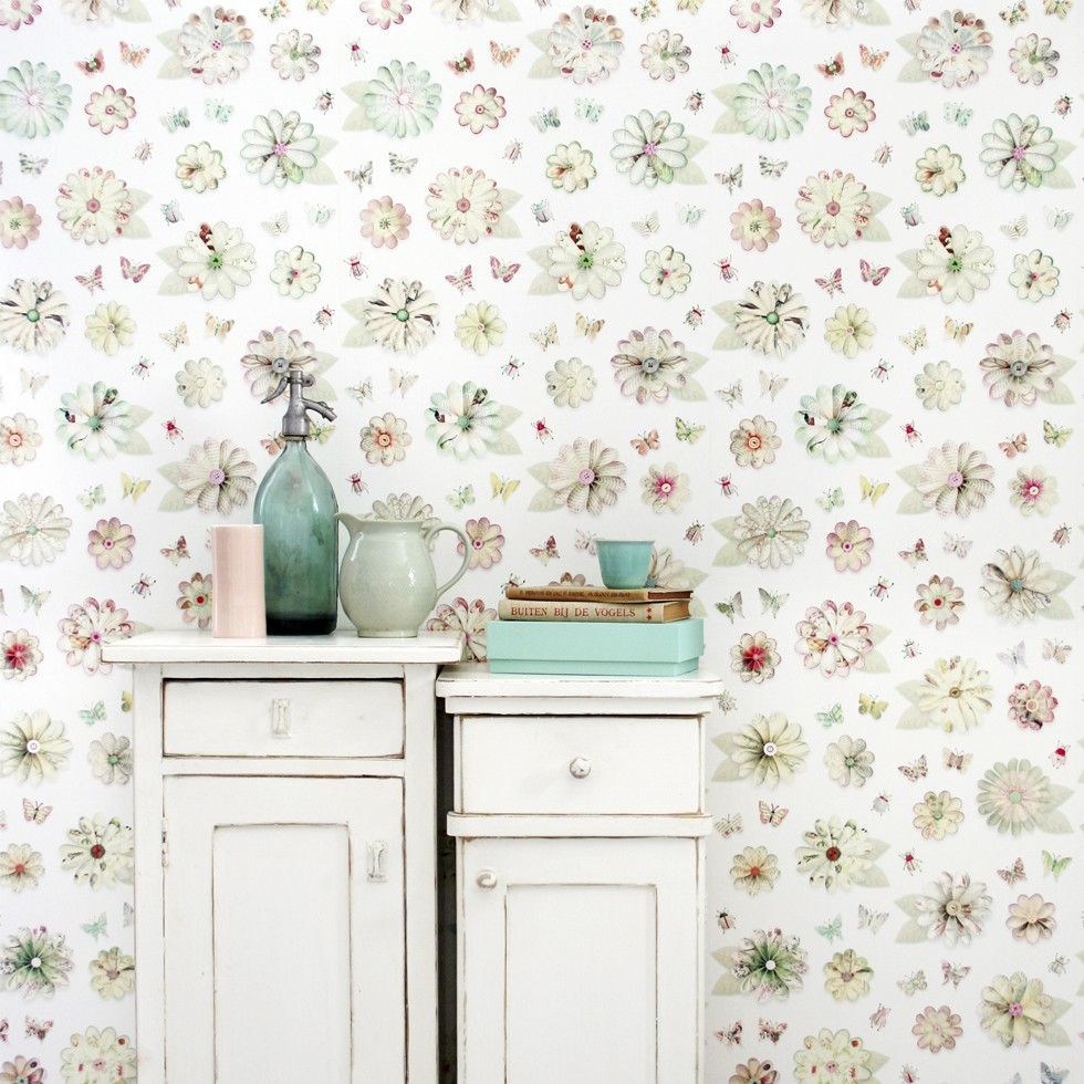Papel de pared vintage flores - Papel de pared para bebes ...