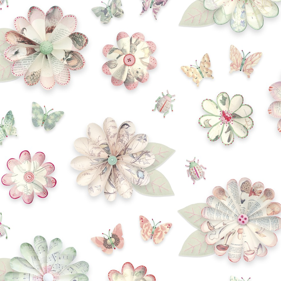 Papel de pared vintage flores for Papel de pared plata